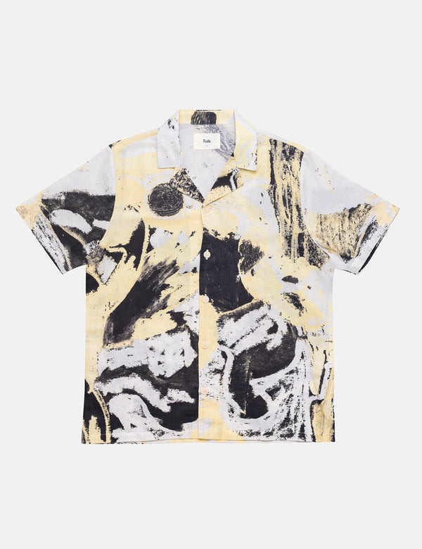 Folk x Alfie Kungu Soft Collar Shirt (Flare Print) - Light Gold