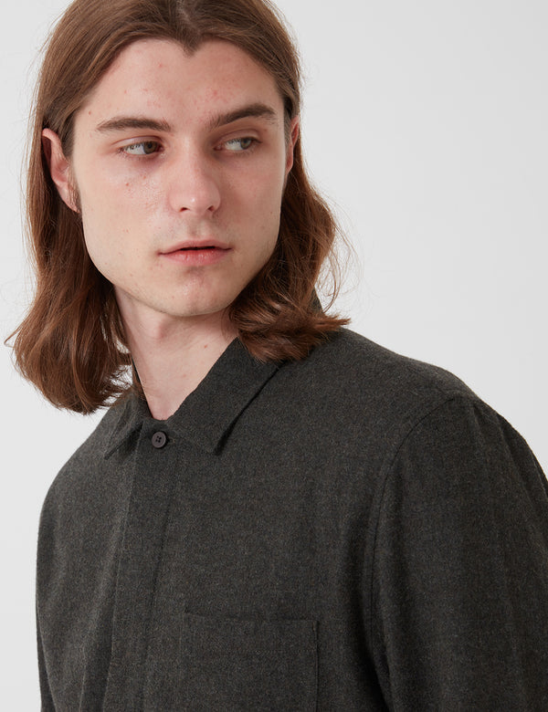 Folk Patch Flannel Shirt - Stone Moss