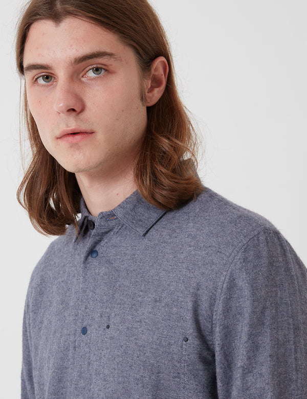 Folk Stitch Pocket Shirt - Brushed Blue Melange