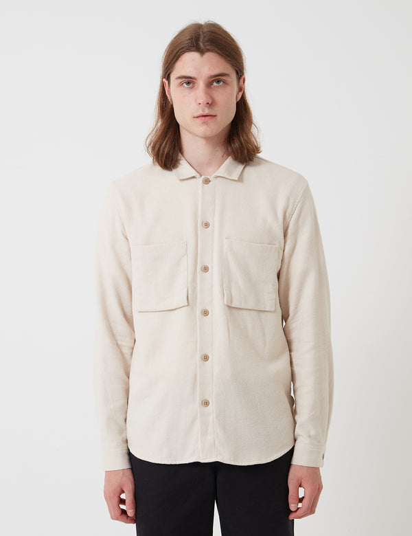 Folk Shirt Jacket (Brushed Twill) - Ecru
