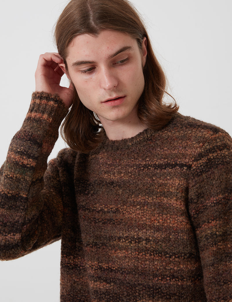 Folk Highlight Crew Sweater - Mottled Brown