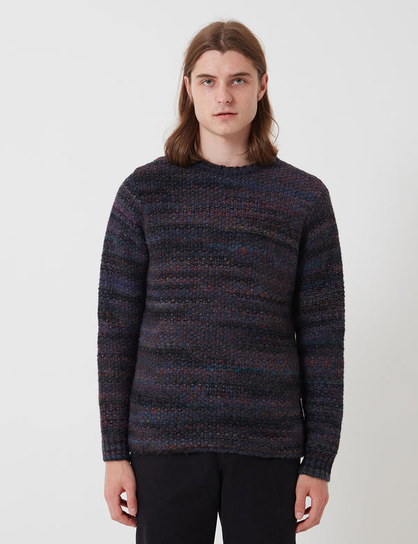 Folk Highlight Crew Sweater - Mottled Navy Blue