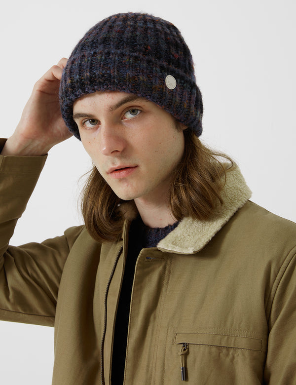 Folk Highlight Beanie - Mottled Navy