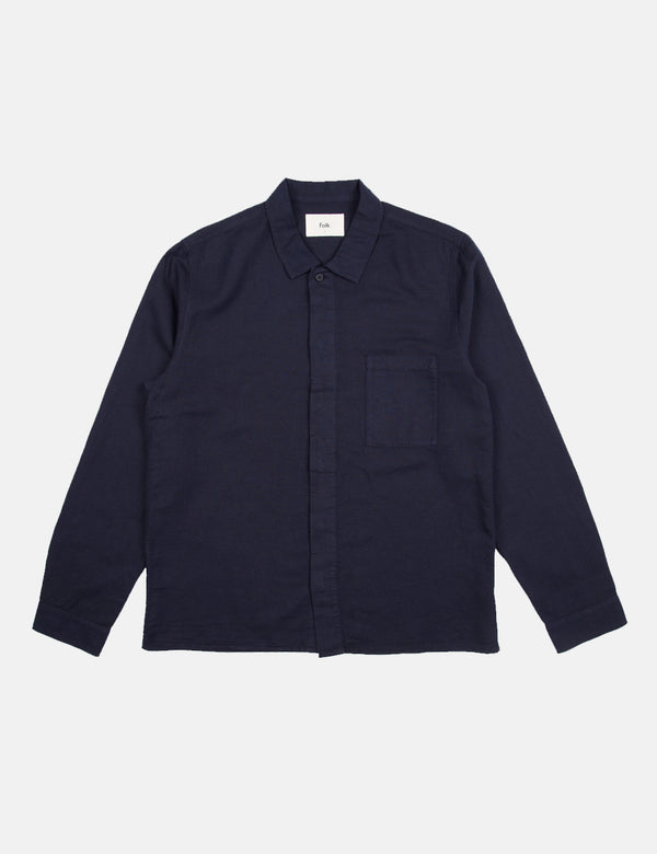 Folk Patch Shirt - Navy Blue
