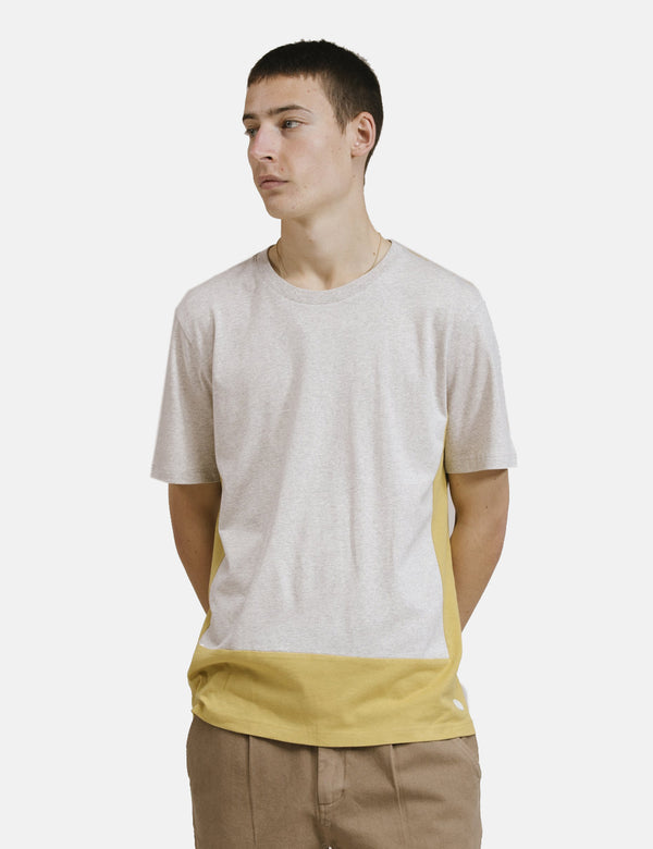 Folk Block Tee - Ecru Melange Straw Yellow
