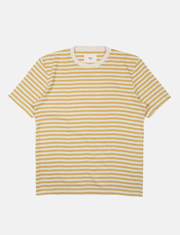 Folk Classic Stripe Tee - Straw Yellow/Ecru White