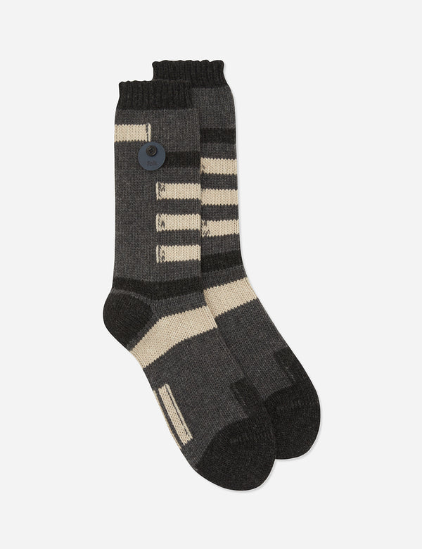 Folk Wool Block Socks - Charcoal/Multi