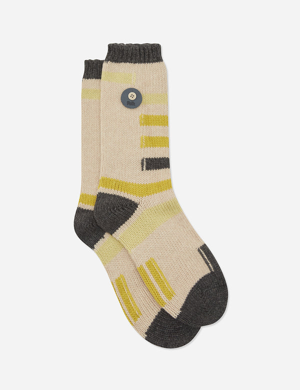 Folk Wool Block Socks - Fawn/Multi