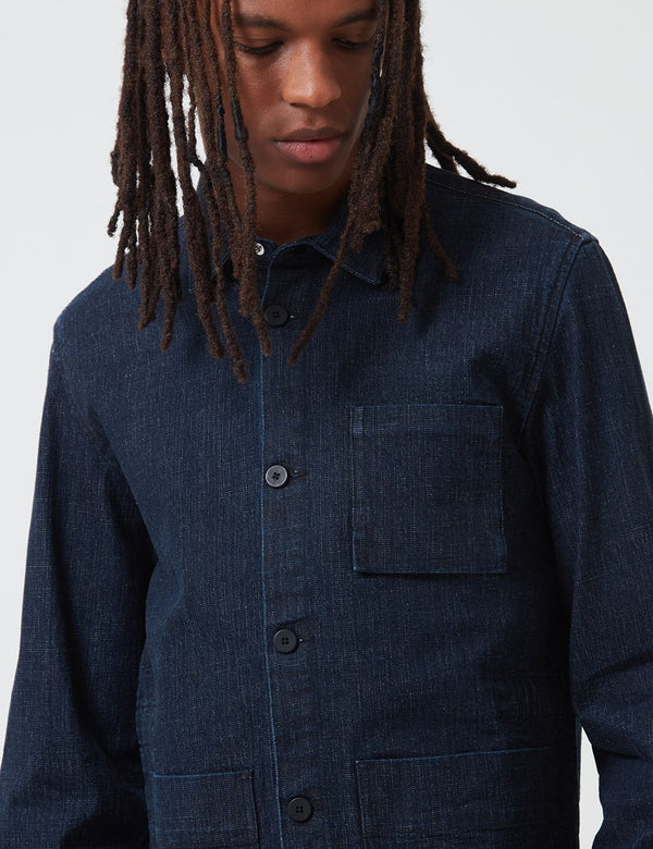 Folk Plinth Jacket (Slub Denim) - Indigo Blue