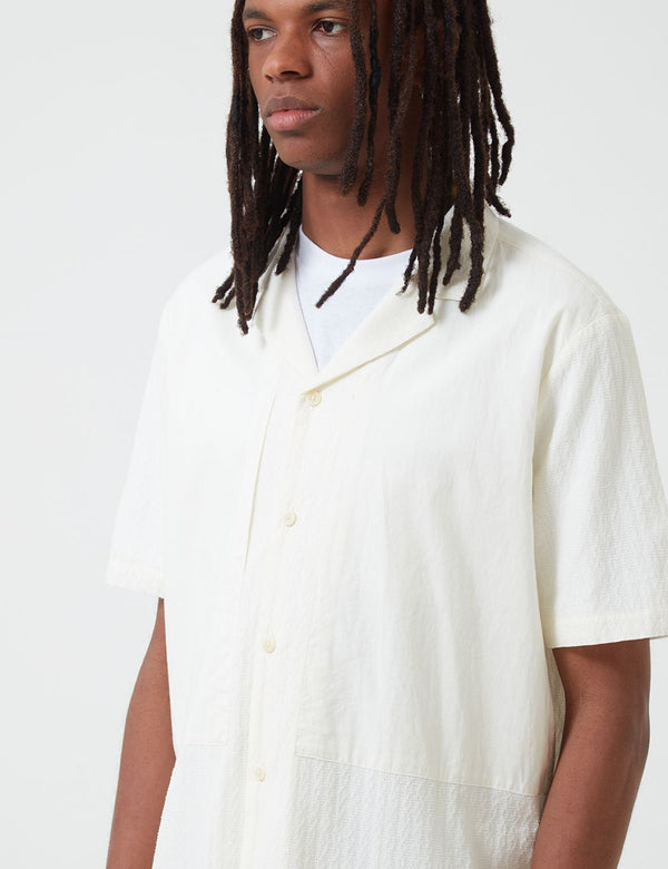 Folk Junction Short Sleeve Shirt (Linear Texture) - White