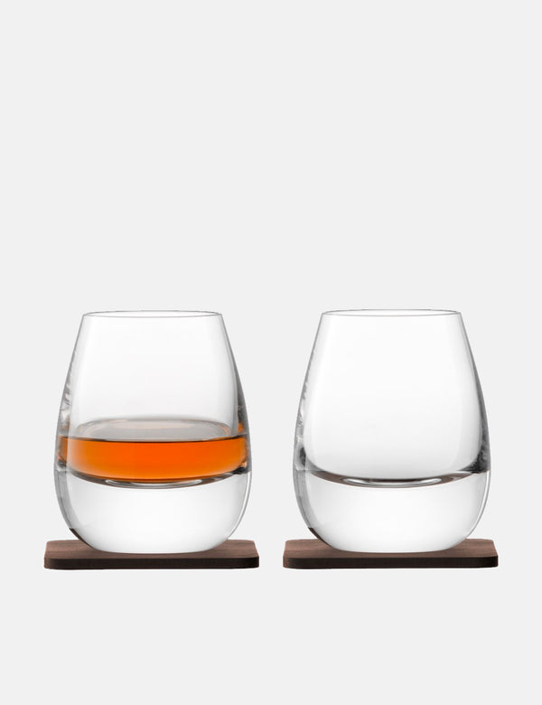 LSA International Whisky Islay Tumbler & Walnut Coaster (Set of 2) - Clear