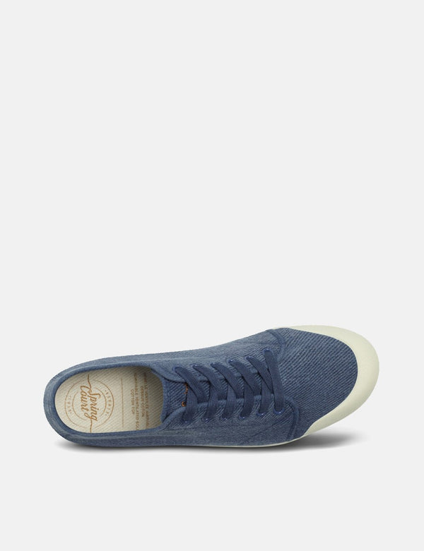 Spring Court G2 Washed Out Vintage Low Trainers (Heavy Twill) - Bleu