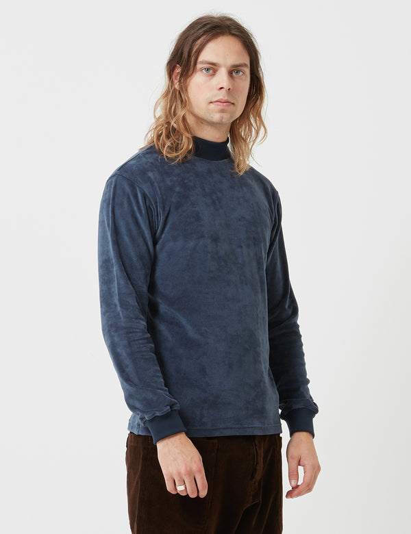 Bleu De Paname Velvet Mock Neck Sweatshirt - Marine - Article