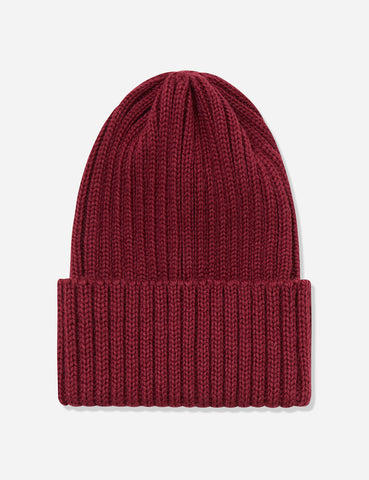 Highland Rib Beanie Hat UK Made (Wool) - Burgundy