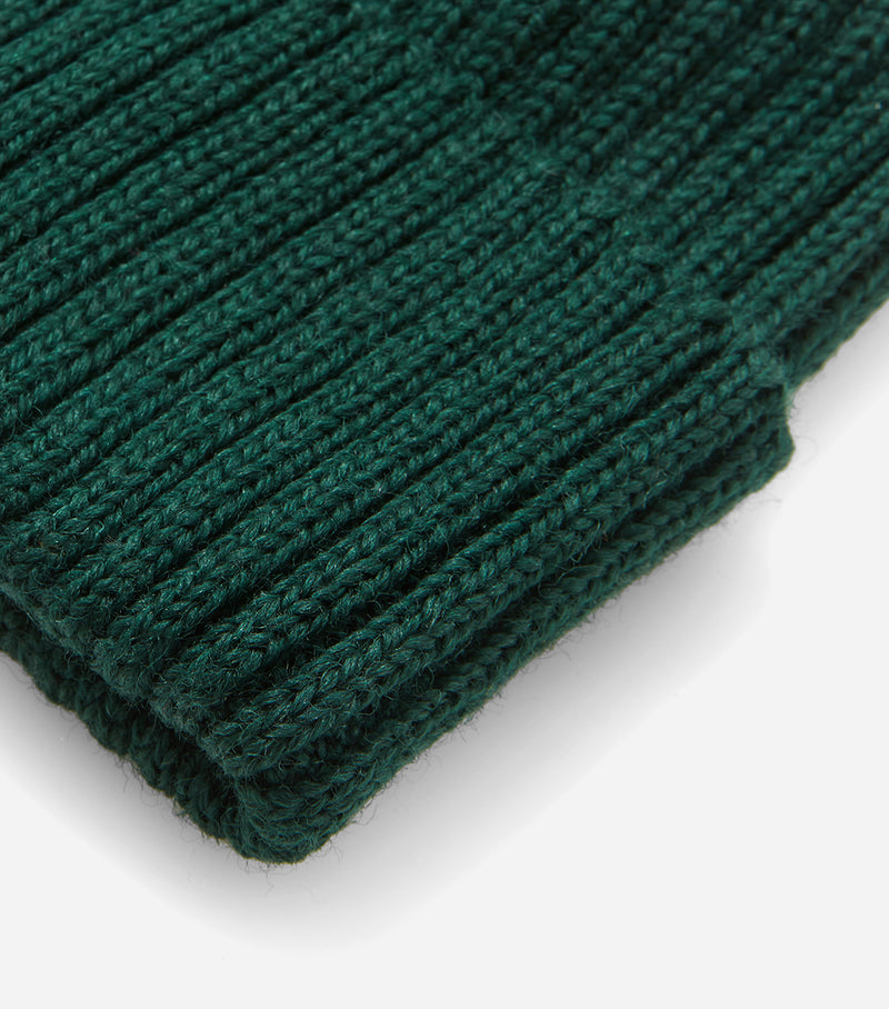 Highland Rib Beanie Hat UK Made (Wool) - Forest Green