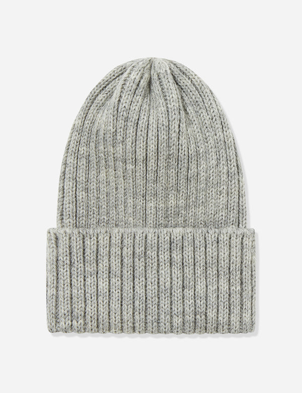 Highland Rib Beanie Hut UK Made (Wolle) - Helles Heather Grey
