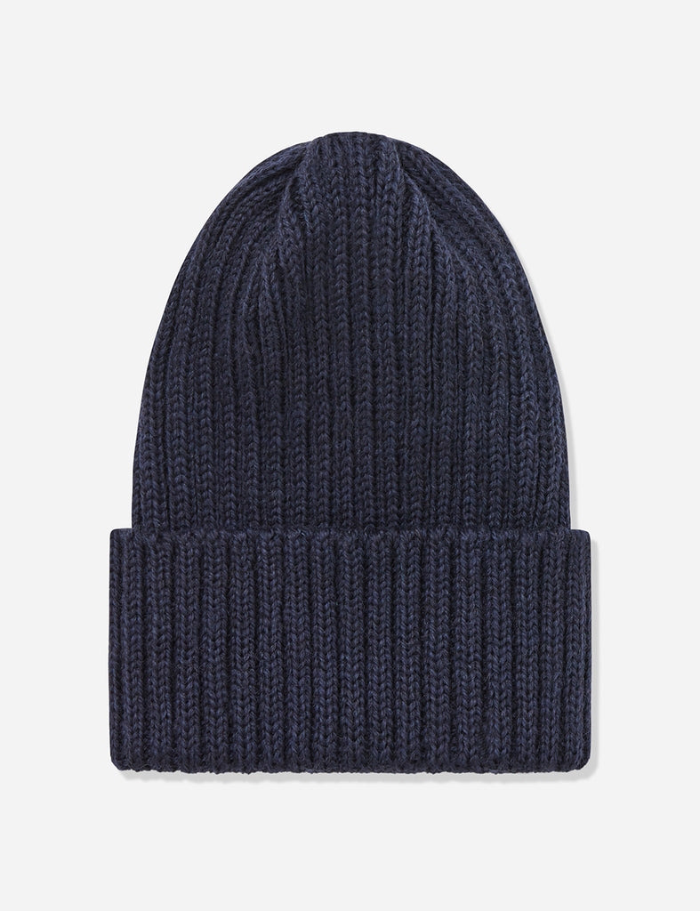 Highland Rib Beanie Hat UK Made (Wool) - Navy Blue