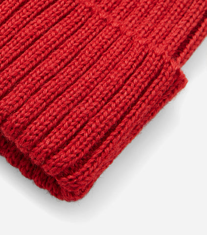 Highland Rib Beanie Hat UK Made (Wool) - Red
