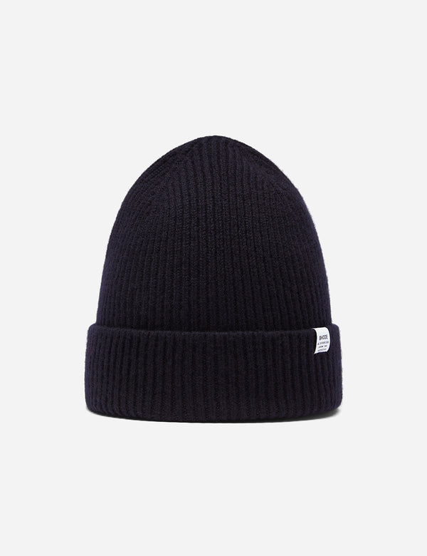 Bhode 'Hawick' Scottish Knitted Beanie Hat (Lambswool) - Navy Blue