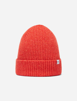 Bhode 'Hawick' Scottish Knitted Beanie Hat (Lambswool) - Cinnamon Orange
