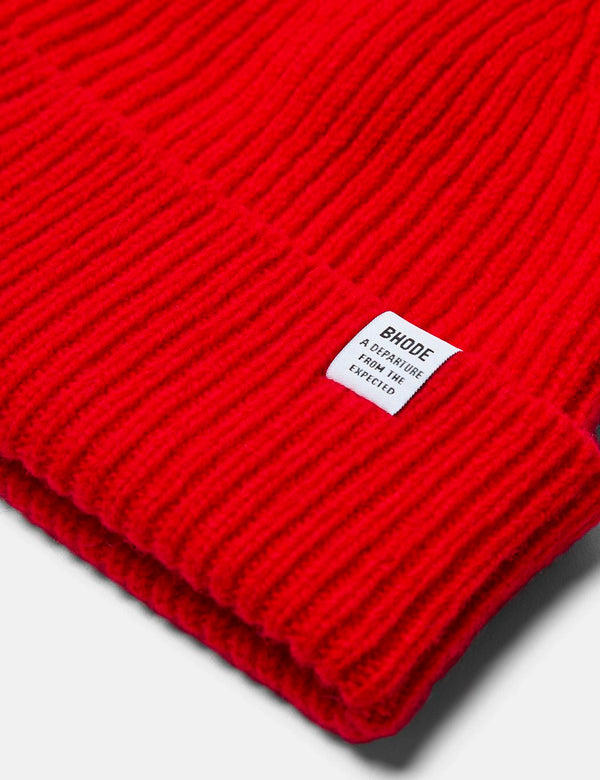 Bhode 'Hawick' Scottish Knitted Beanie Hat (Lambswool) - Scarlet Red