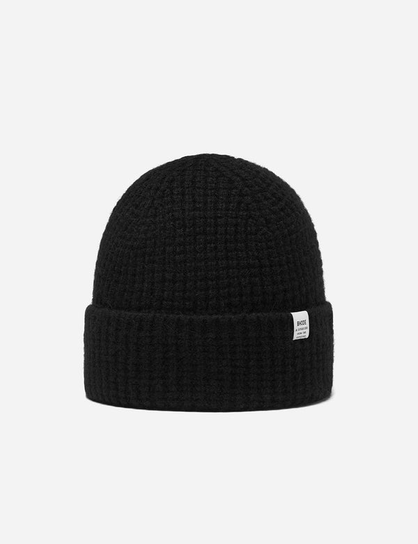 Bhode 'Pineapple' Scottish Texture Beanie Hat (Lambswool) - Black