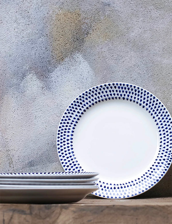 Nkuku Indigo Drop Dinner Plate - Cream & Indigo