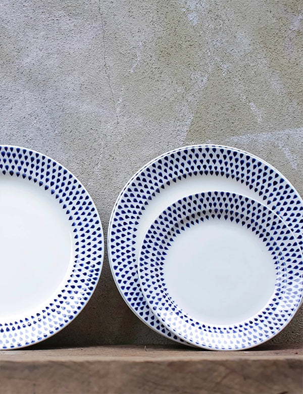 Nkuku Indigo Drop Side Plate - Cream & Indigo
