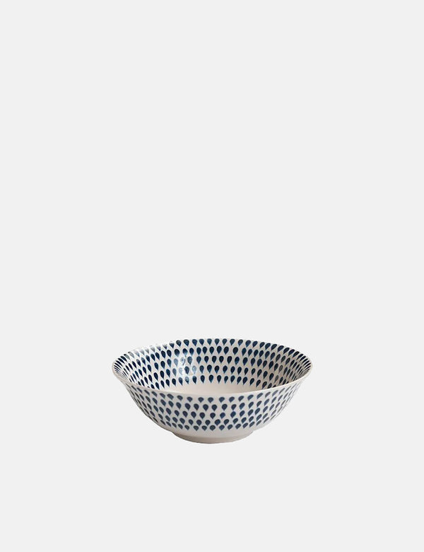 Nkuku Indigo Drop Cereal Bowl - Cream & Indigo