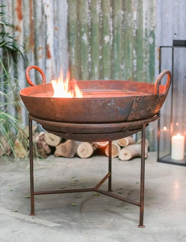 Nkuku Reclaimed Iron Kadai With Grill (Medium) - Iron