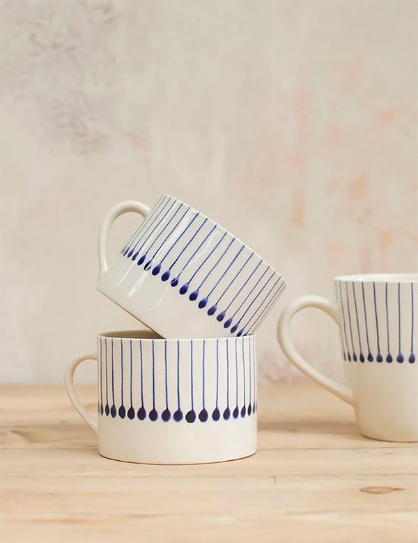 Nkuku Iba Ceramic Mug (Large, Short) - Indigo