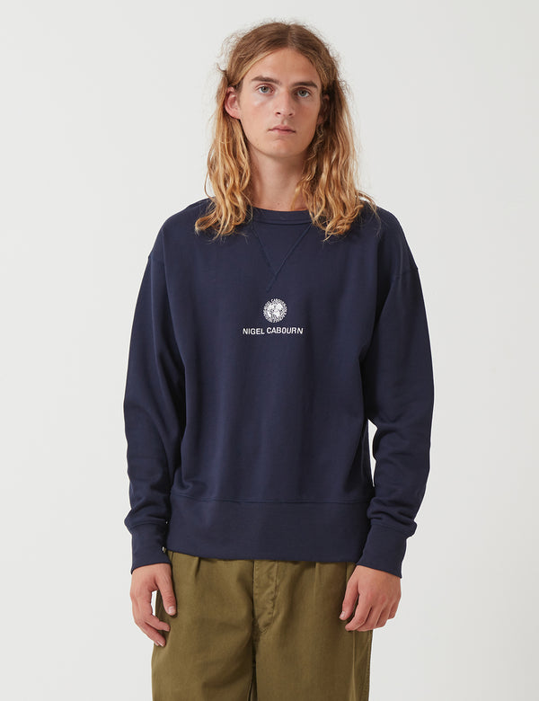 Nigel Cabourn Embroidered Globe Sweatshirt - Navy Blue