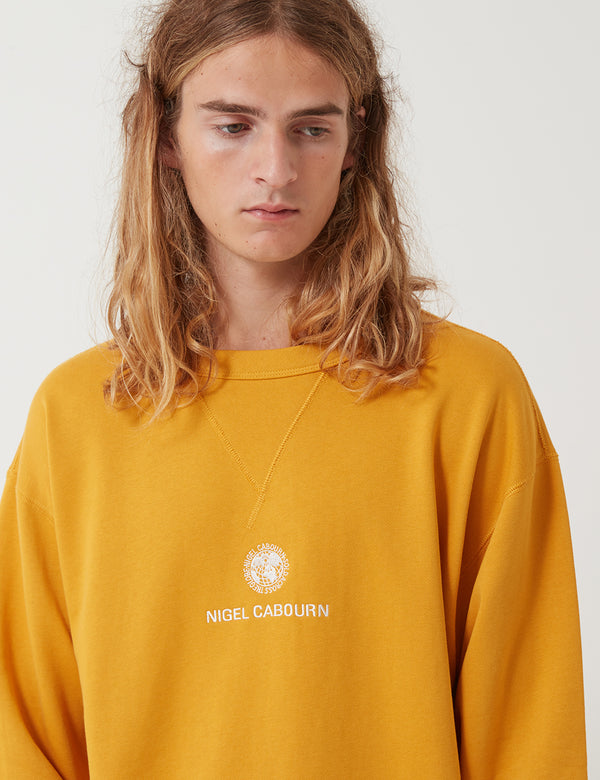 Nigel Cabourn Embroidered Globe Sweatshirt - Survival Yellow
