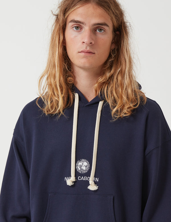 Nigel Cabourn Embroidered Globe Logo Hooded Sweatshirt - Navy Blue