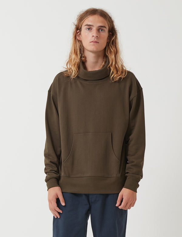 Nigel Cabourn Roll Neck Sweatshirt - Army Green