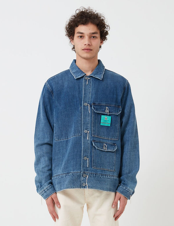 Nigel Cabourn Denim Hip Jacket (Kuroki Denim) - Heavy Wash
