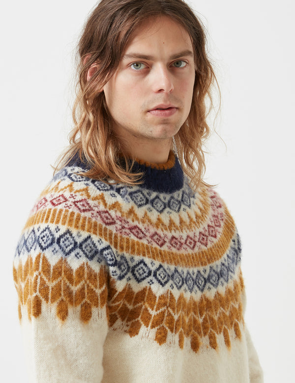 Bellerose Aokas Combo Knit Sweatshirt - Ecru - Article