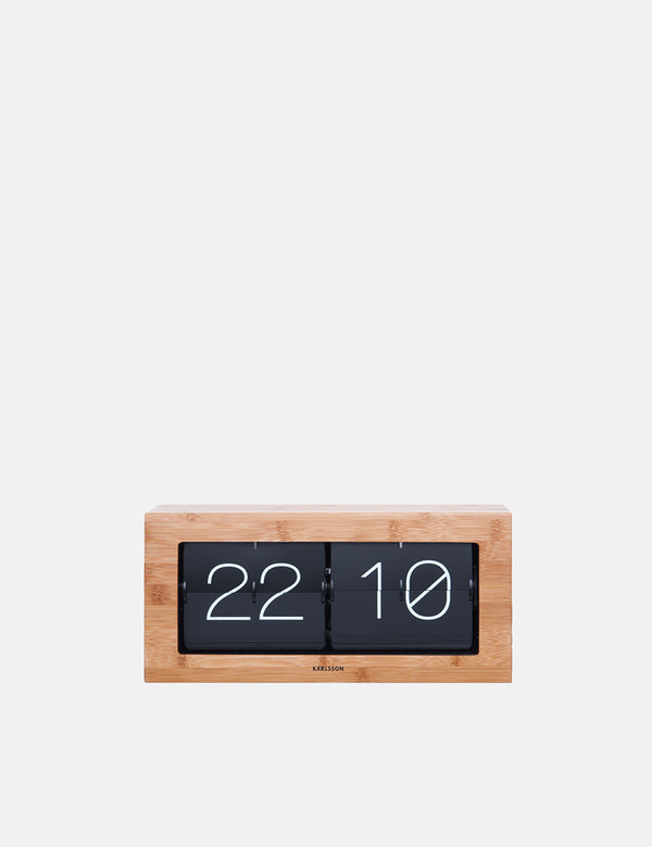 Karlsson Flip Clock Boxed (XL) - Bamboo