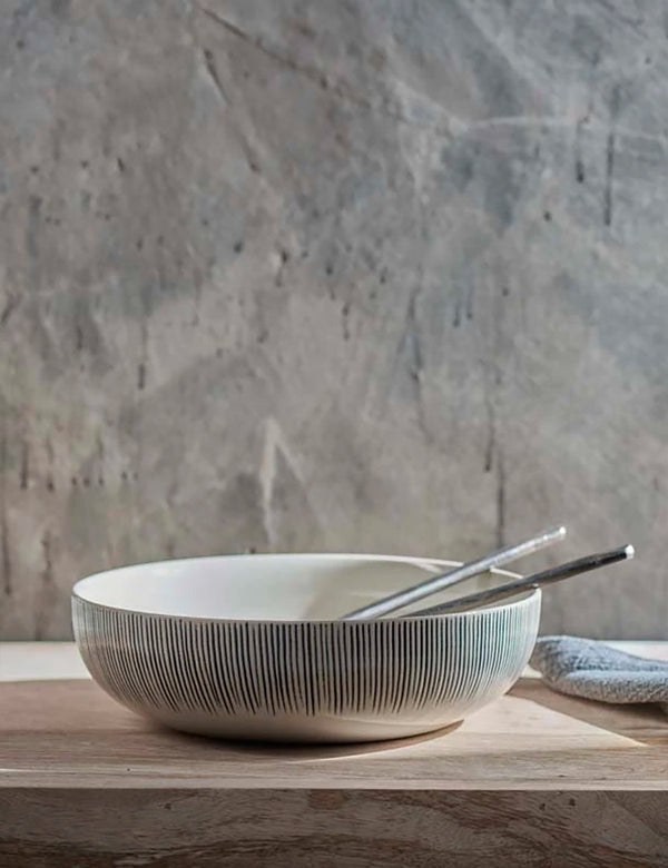 Nkuku Karuma Ceramic Serving Bowl - Black & White