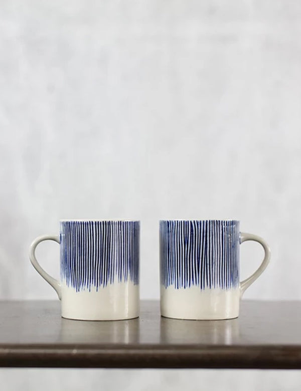 Nkuku Karuma Ceramic Mug (Tall) - Blue and White