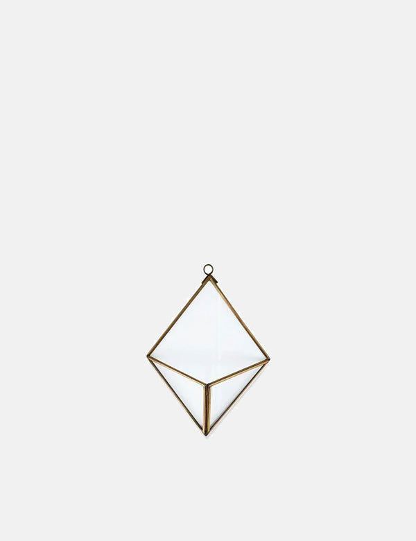 Nkuku Karana Wall Hung Planter (Diamond) - Antique Brass