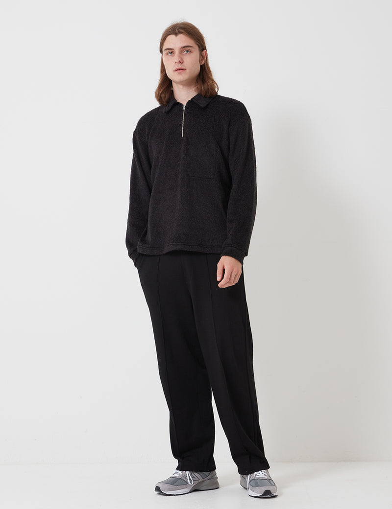 Lady White Co. Furry Quarter Zip - Black