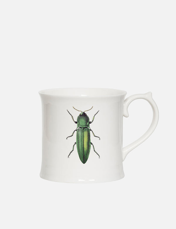 Cubic Green Beetle Mug - White