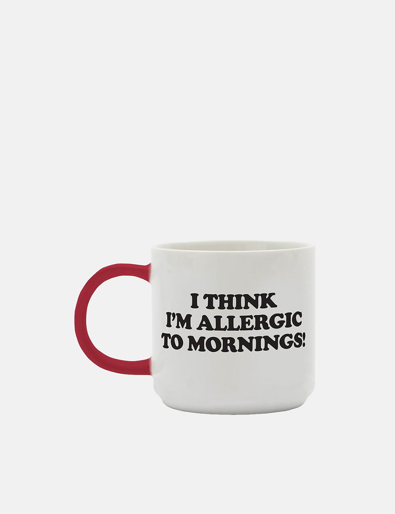 Peanuts Allergic to Mornings Mug - White