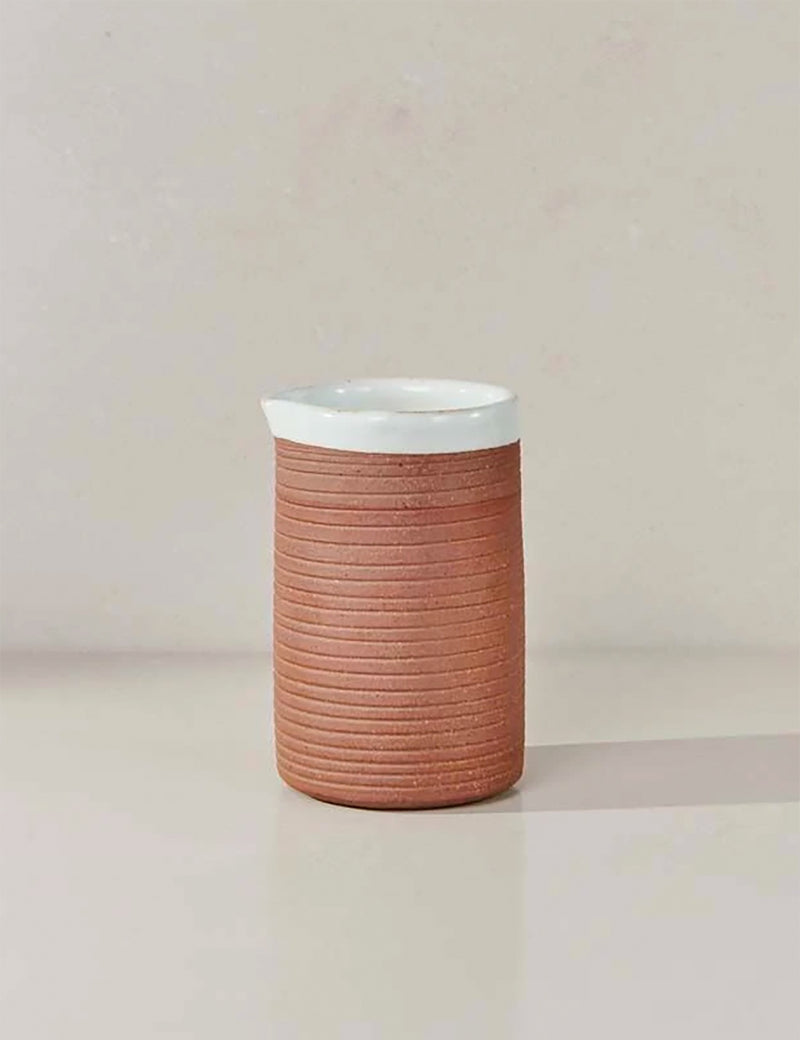 Nkuku Mali Ribbed Jug (Terracotta) - White