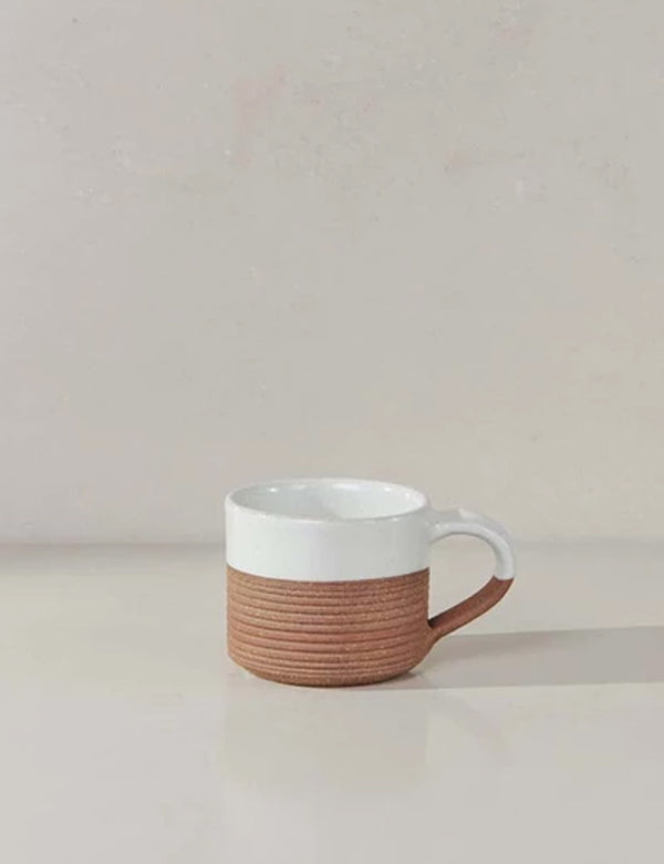 Nkuku Mali Ribbed Espresso Mug - White and Terracotta