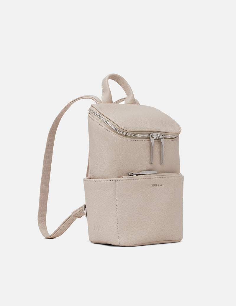 Matt & Nat Brave Mini Backpack (Vegan Leather) - Koala Matte Nickel
