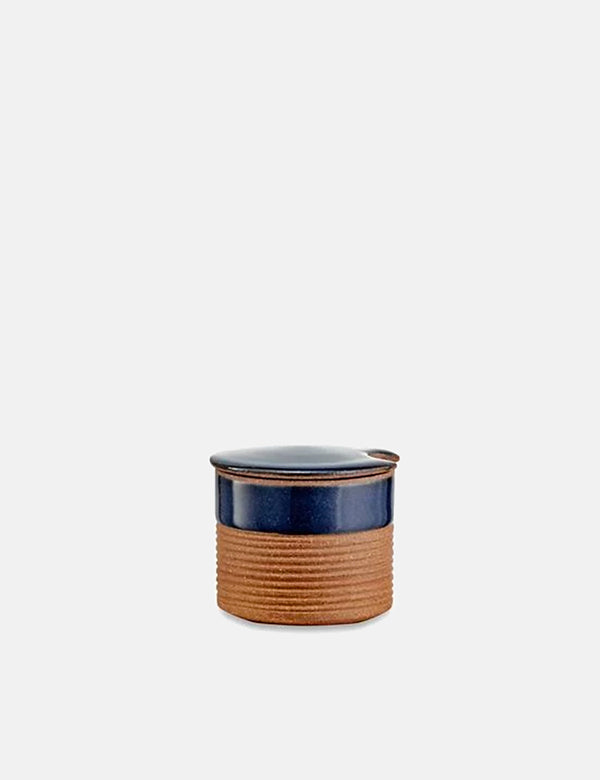 Nkuku Mali Ribbed Sugar Pot (Terracotta) - Navy Blue