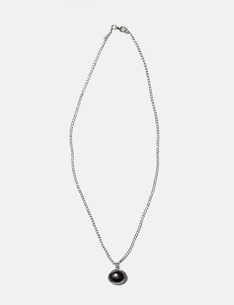 Maple Tubby Pendant + Curb Chain - Silver 925/Onyx