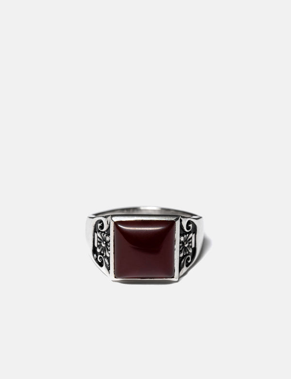 Maple Collegiate Ring (Signet) - Silver/Red Garnet